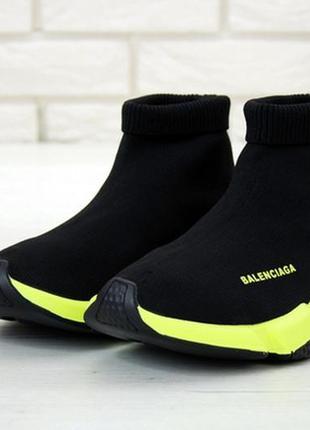 💥мужские balenciaga speed green black кроссовки чёрные легкие