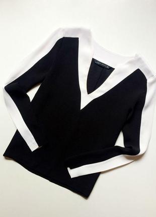 Zara комбинированная блуза с v-образным вырезом