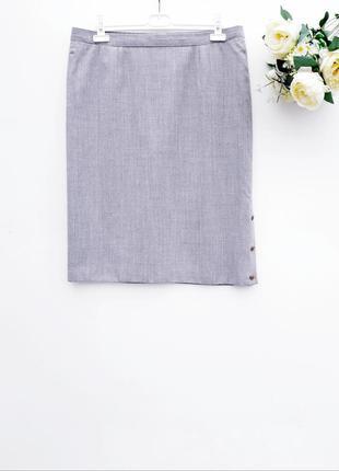 Меланжевая юбка миди с пуговицами тёплая юбка миди светло сера...