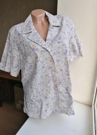 Нежный натуральный летний пиджак с короткими рукавами в цветы ...
