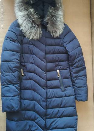 Женское  зимнее пальто мех чернобурки