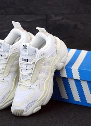 Adidas consortium x nakeg magnum runner beige white, женские к...