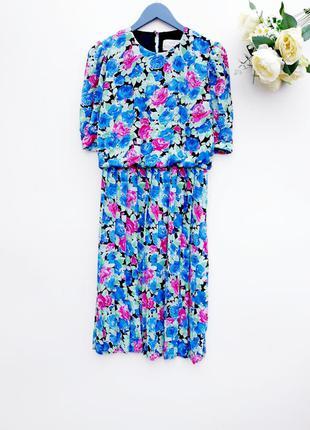 Винтажное платье миди платье плиссе в цветы