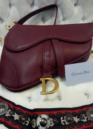 Сумка в стиле dior saddle диор седло бордо