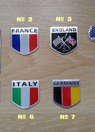 Наклейки на авто Флаг Стран алюминиевые на авто - мото