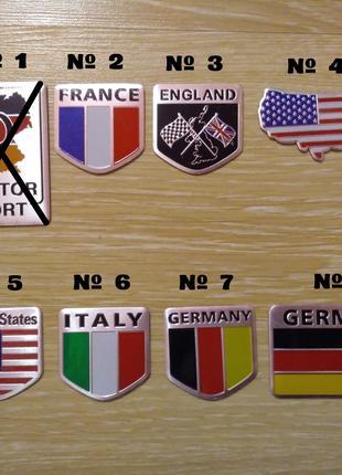 Наклейка на авто мото Флаги Стран алюминиевые