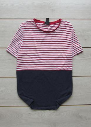 Хлопковая футболка в полоску двойная от h&m