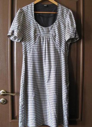 """Шёлковое платье-футляр американского бренда esprit, в """"гусиную..."""