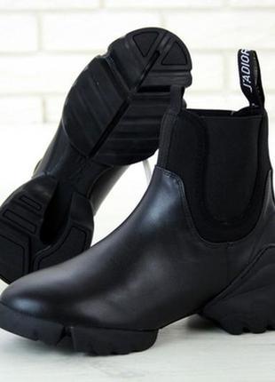 Стильные женские ботинки, черные кожаные демисезонные