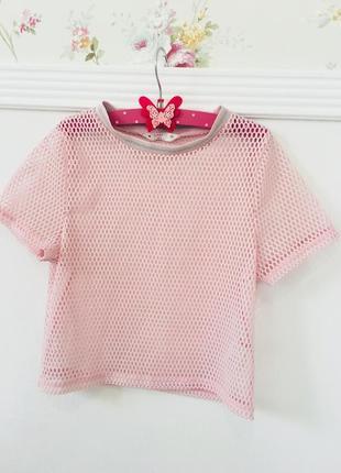 Стильная кроп топ футболка сетка