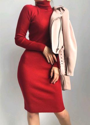 Базовое платье в рубчик трикотажное длина миди гольф