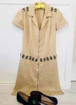 Платье халат с декором лён