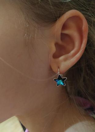 """Серьги """"кристальные звезды blue"""" swarovski (сваровски) родиров..."""