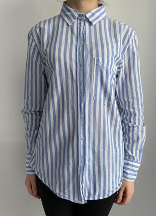 Рубашка полосата, голуба з білим, полосатая рубашка, морская т...