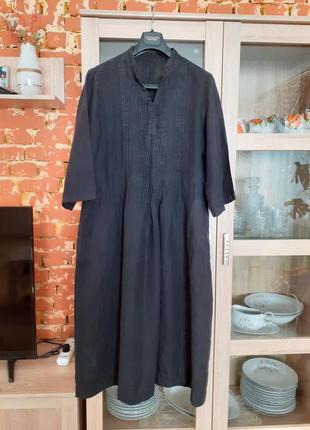 Очень клоссное стильное льняное платье с карманами большого ра...