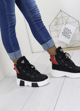 Новые шикарные женские черные зимние ботинки