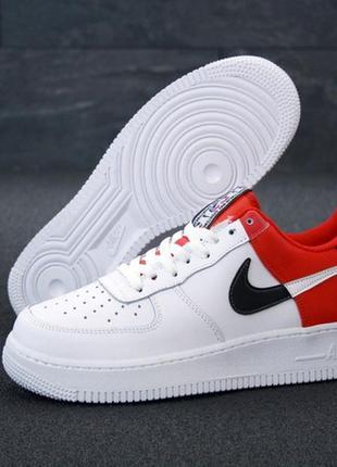 Nike air force white red, мужские шикарные демисезонные кроссо...