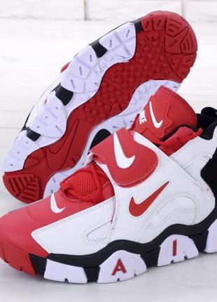 Nike air barrage white red, мужские кроссовки найк, высокие ха...
