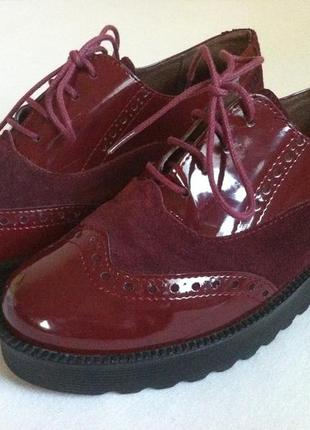 Мега стильные лаковые туфли броги  fresh размер 38 по стельке ...