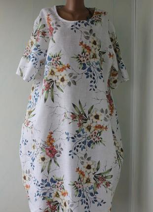 Легкое платье баллон в цветах из 100% льна, италия