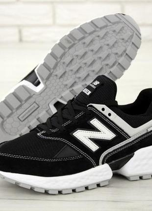 Мужские кроссовки new balance 574 sport v2 black/white нью бел...