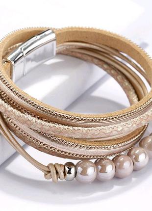 Женский кожаный браслет, многослойный.