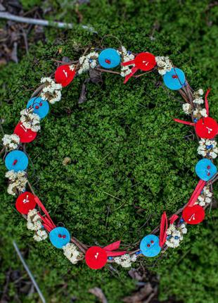 Декоративное украшение, подарок веночек, интерьерная композиция.