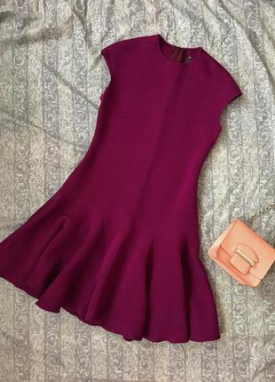 Шикарное элегантное платье миди цвета фуксии lanvin