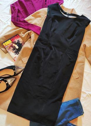 Чёрное платье футляр карандаш классическое деловое офисное бол...