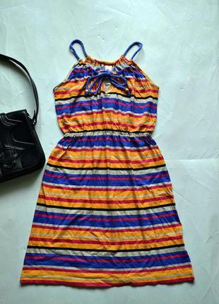 Яркое летнее трикотажное платье xs-s