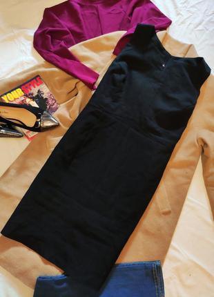 Платье чёрное классическое деловое офисное футляр карандаш атм...