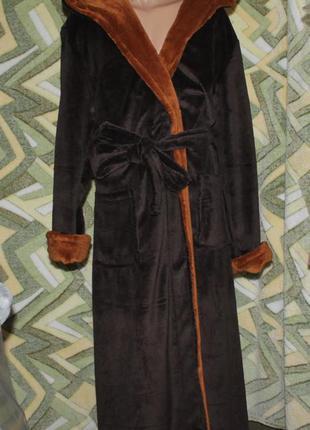 Длинный мужской халат на запах с капюшоном вышивка sport корич...