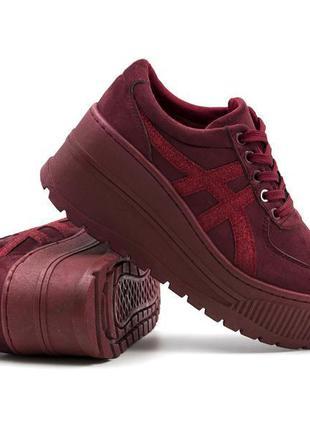 Модные женские (подростковые) бордовые кроссовки на платформе,...