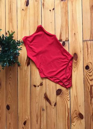Шикарный красный бодик боди в рубчик с открытой спинкой topshop