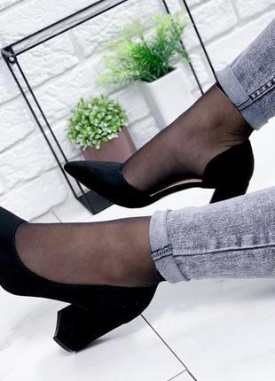 Замшевые туфельки на удобном каблучке