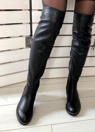 Зимние черные кожаные ботфорты 💥