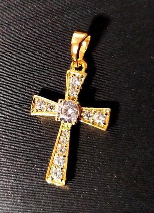 Крестик с камнями(12шт) позолота золотом 585 пробы