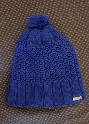 Шапка женская Adidas синяя с помпоном, 100% оригинал