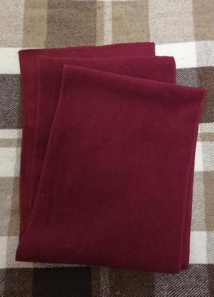 Простой бордовый флисовый шарф, длина 105, ширина 24
