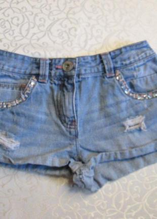 Шорты джинсовые с потертостями на 11 лет