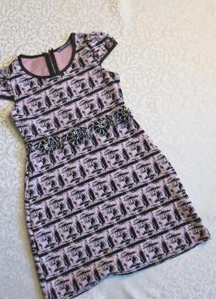Платье трикотажное нарядное на 10 лет