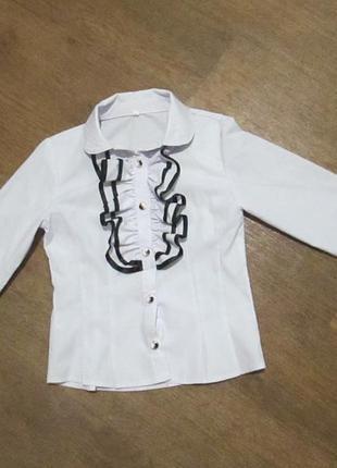 Блузка в школу, школьная блузка, рубашка, белая на 9-10 лет