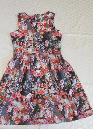 Платье, принт цветы, сакура на 11-12 лет