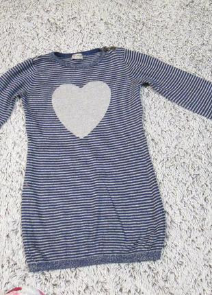 Платье трикотажное теплое на 5-6 лет