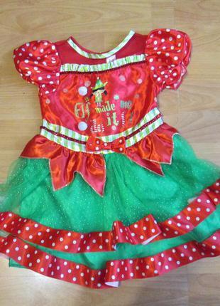 Платье карнавальное эльф, гном, помощник санты на 2-3 года