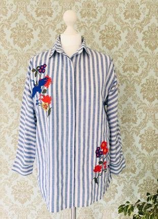 Полосатая рубашка с вышивкой свободного кроя