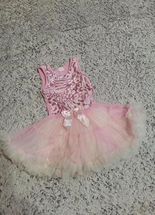 Платье нарядное, пышное, розовое, на 3-4-5 лет, пайетки, фатин.