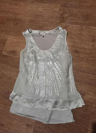 Майка нарядная, блузка, в пайетках, шелковая, karen millen