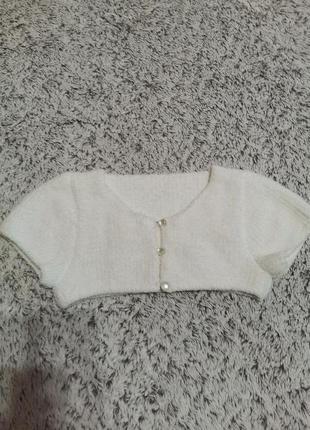 Болеро белое вязаное на 5-6 лет