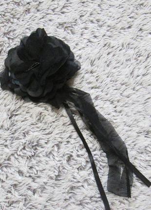 Брошка черная, брошка цветок